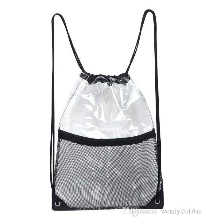 محفظة 5pcs PVC الشفاف للماء الرباط حقيبة الظهر مع شبكة كامو رياضة حقيبة مدرسية حقيبة الرياضة في الهواء الطلق شاطئ الحذاء