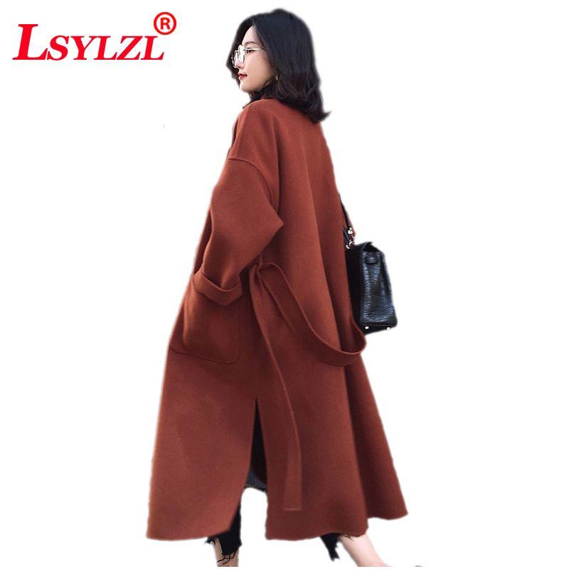 Sonbahar Kış Uzun Kadın Ceket Yüksek Kalite Boy Sıcak Yün Karışımları Moda Bayanlar Katı Kalınlaşmak Uzun Kaşmir Palto C301