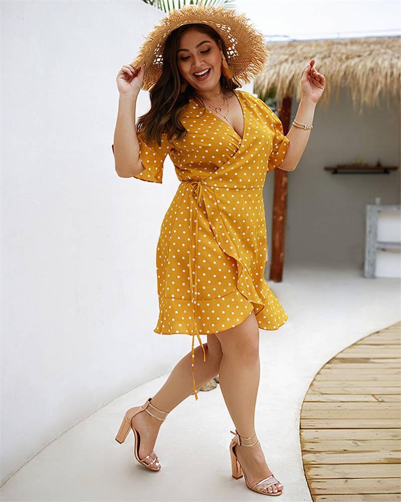 Plus Size femmes Robe à pois de vacances Sexy New été en mousseline de soie Casual Bandage Dress Imprimer Party Vêtements Clubwear Feminina