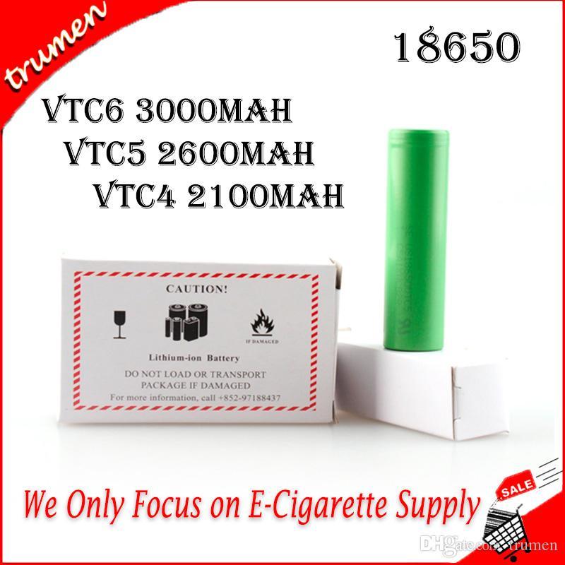 2019 100% de haute qualité SONY VTC6 3000mAh VTC5 2600mAh VTC4 2100mAh 3.7V Li-ion 18650 Piles rechargeables utilisant pour Mods Ecig Box