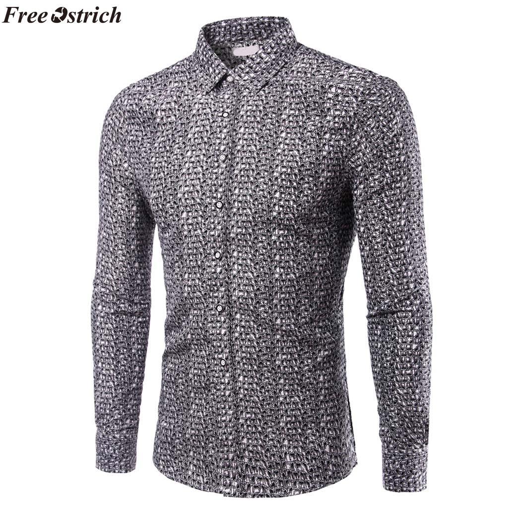 ÜCRETSIZ OSTRICH erkek Moda Ince Baskı Uzun Kollu Gömlek Düğme Yaka Rahat Siyah Gömlek Giyim Konfor Tops Artı Boyutu