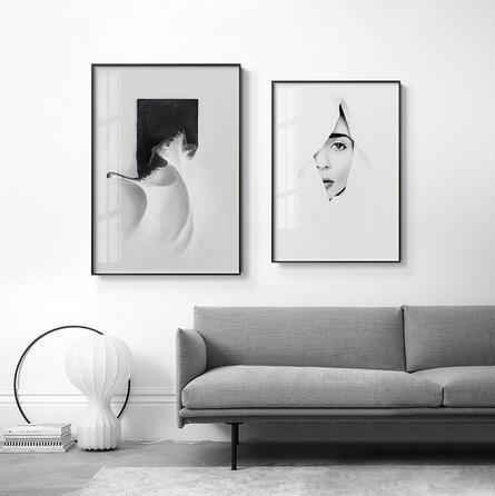 Abstract Style Half Face Girl on White Background Wall for Living Modern Artistical art wall decoration hot sale popular poster 6
