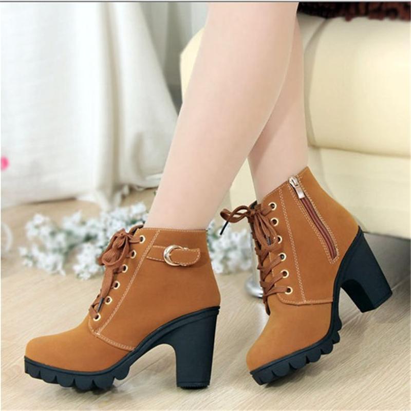 per le donne scarpe invernali tacchi più Botas velluto di alta femininas 2018 stivali di pelle scarpe da donna di spessore Tacchi donna Boot autunno