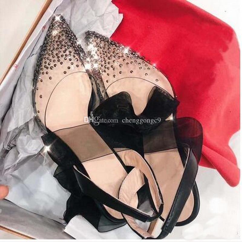 Black Lace up Slingback Pumps donna più recente Red Bottom tacchi alti PVC crystal bling scarpe a punta punta a punta scarpe da sposa completo imballaggio originale