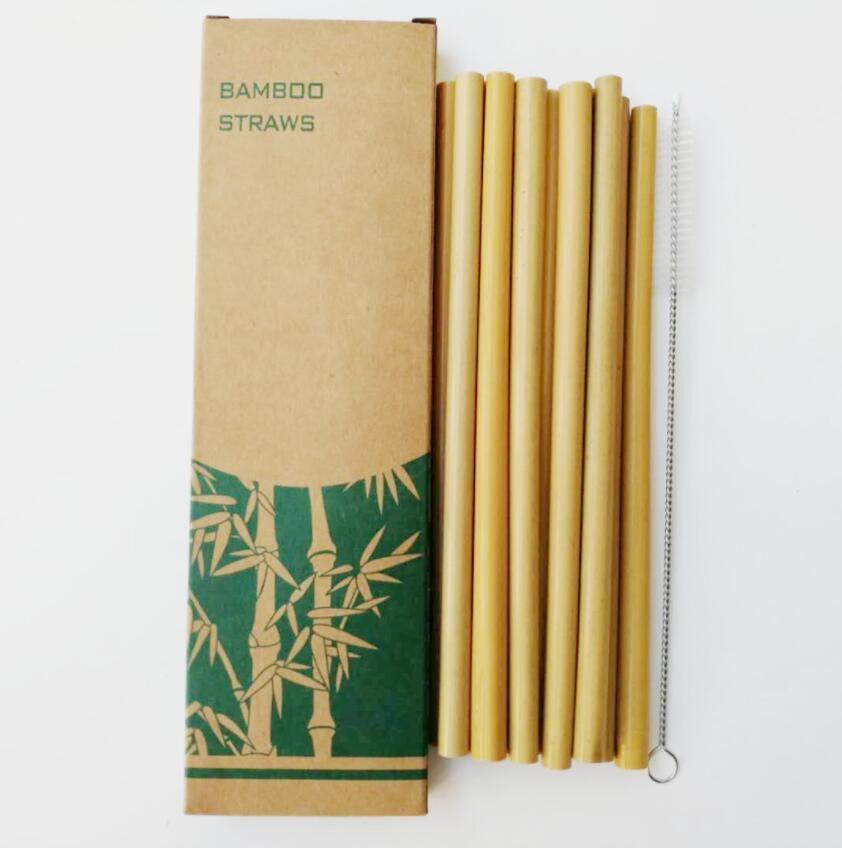 Wiederverwendbare Umweltfreundlich Grün Gelb Bambus Strohhalme mit Trinkhalm-Reinigungsbürste Partei Haushalt Trinkhalm Tool Bar Zubehör