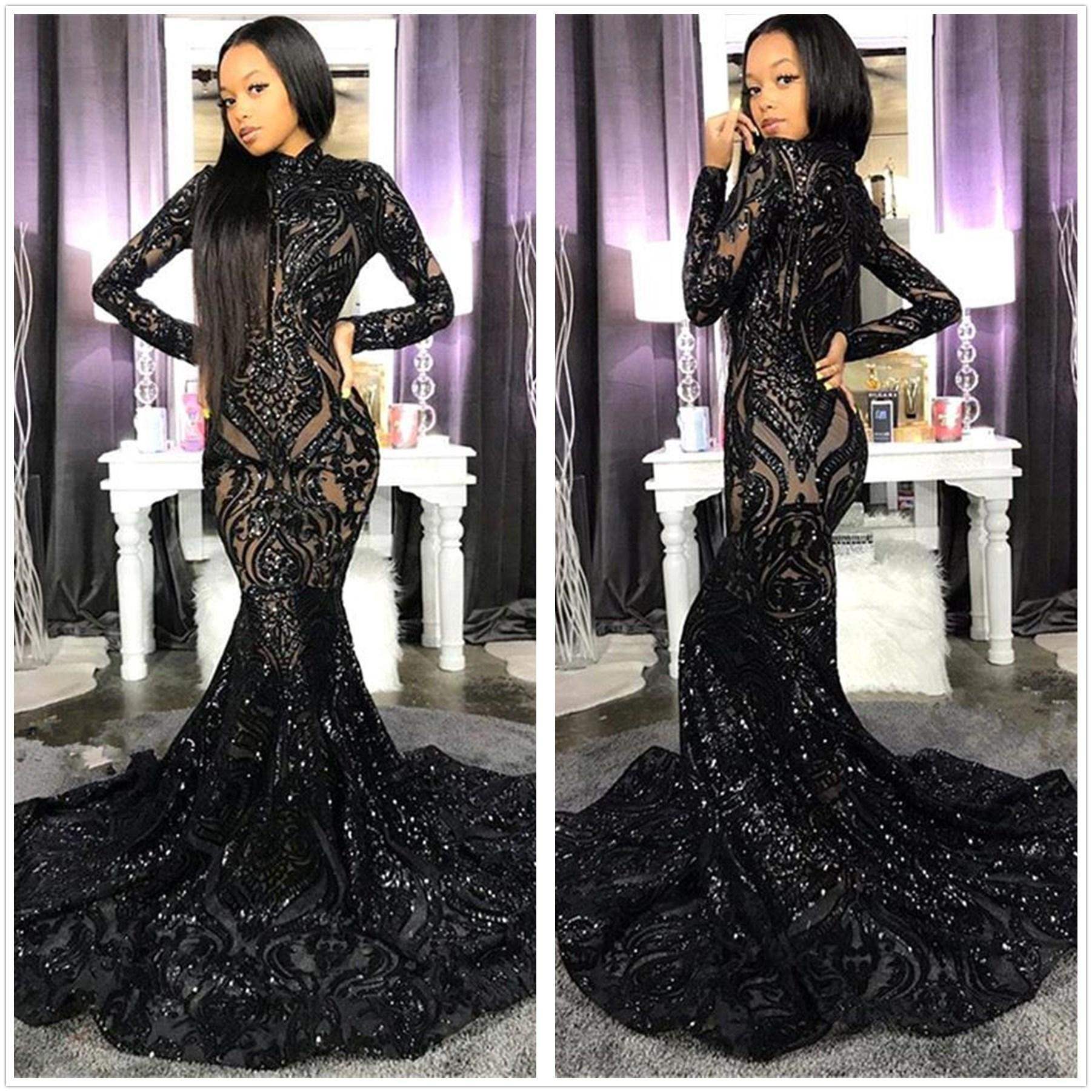 Black Sparkling Sequins Mermaid Prom Dresses 2020 High Neck Illusion Long Sleeves Sweep Train Formal Party Evening Gowns BC4122