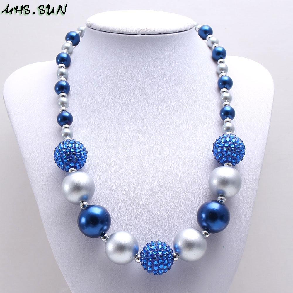 MHS.SUN 1 PZ Moda baby blue + argento grosso collana di perline ragazze bubblegum gumball collana fatta a mano per i bambini regalo di compleanno