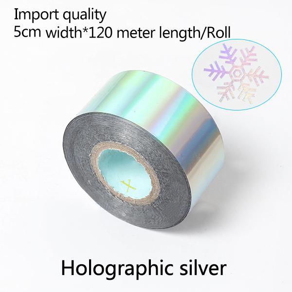 5cm Largura * 120Meter / Holographic Sliver Foil Rolls Couro Transfer Paper Hot Stamping Papel térmico anodizado dourado Papel frete grátis