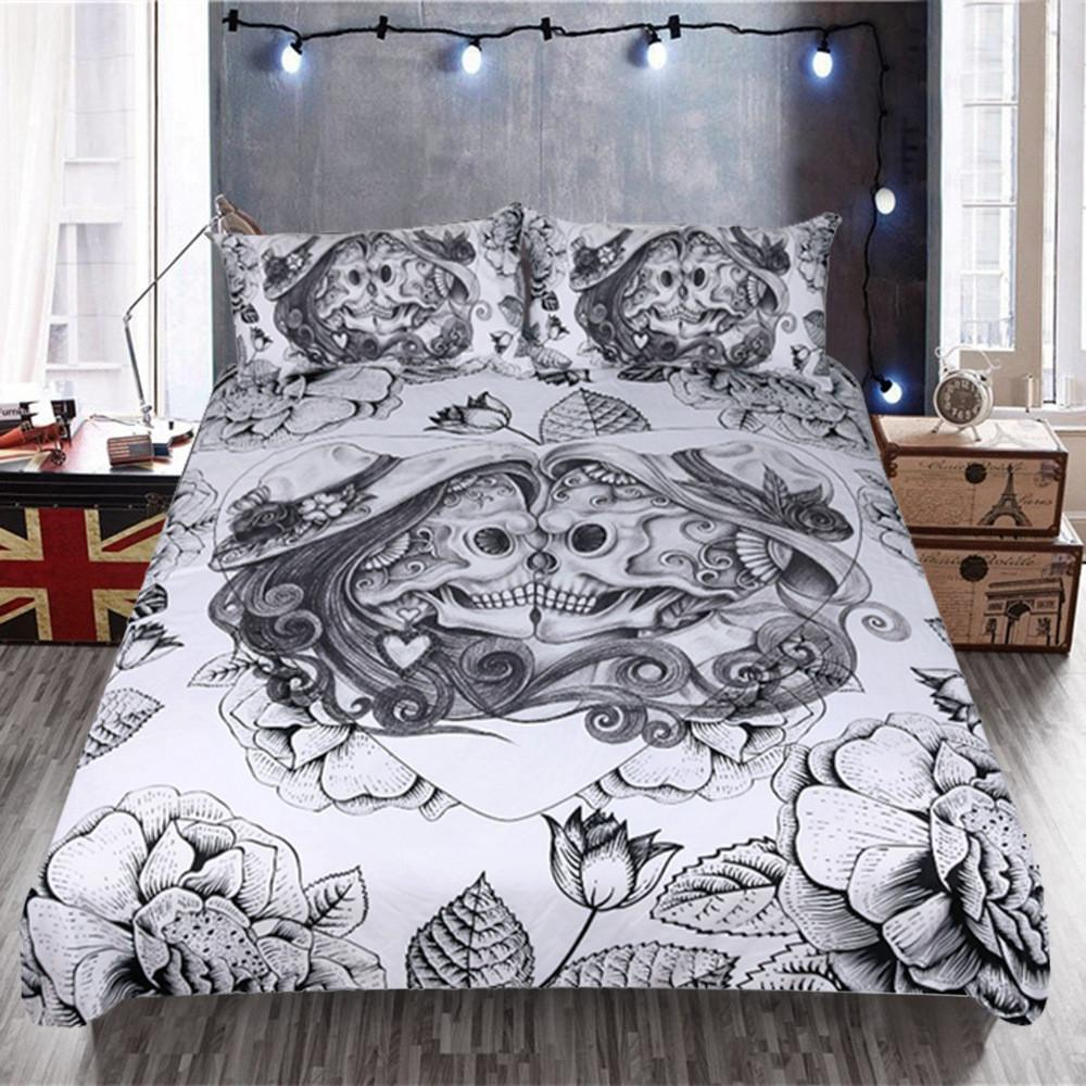 Skull Couples Bedding Set Vintage Love Heart Skull Floral Duvet Cover Pillowcase Boys Bedclothes Twin Queen King Size Bed Set