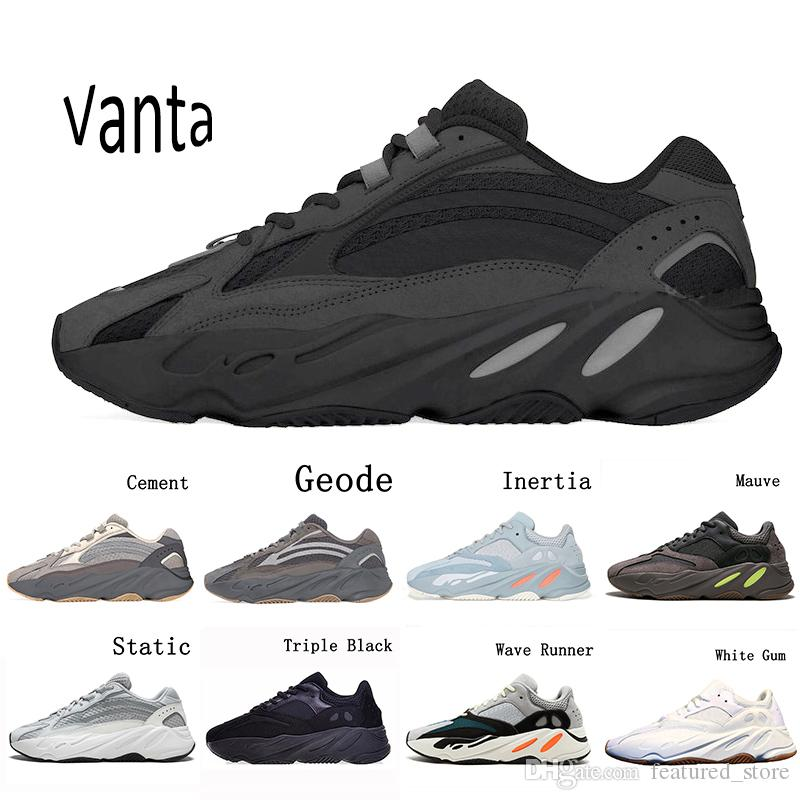 Compre Adidas Yeezy 700 V2 Boost Vanta Geode Cement Inertia Static Kanye West Wave Runner Running Shoes For Mens Womens 700s Mauve Sports Sneakers 36