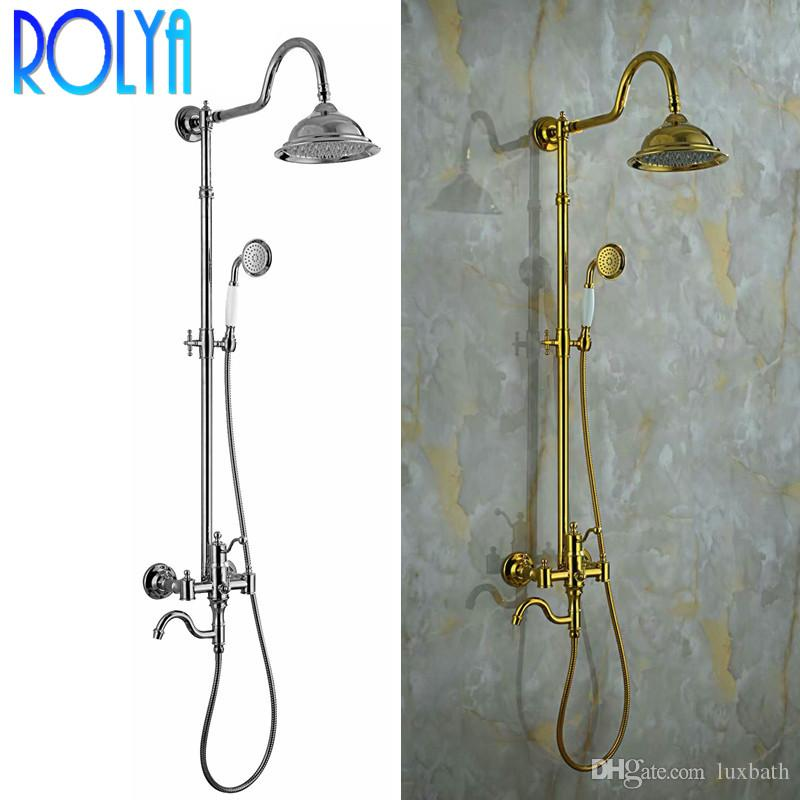 Rolya Chrome/Golden Classic Exposed Round Rain Shower Head & Hand Shower Set Cross Handle in Gold Solid Brass