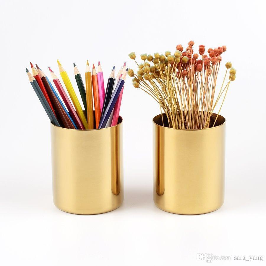 400ml Nordic style brass gold vase Stainless Steel Cylinder Pen Holder for Desk Organizers and Stand Multi Use Pencil Pot Holder Cup LIN4855