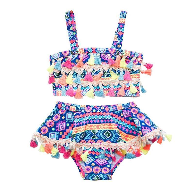 Bebek Kız mayo 2020 yaz Milli tarzı İki adet çocuk Geometrik baskı Bikini çocuklar Mayo Z0508 püskül şerit