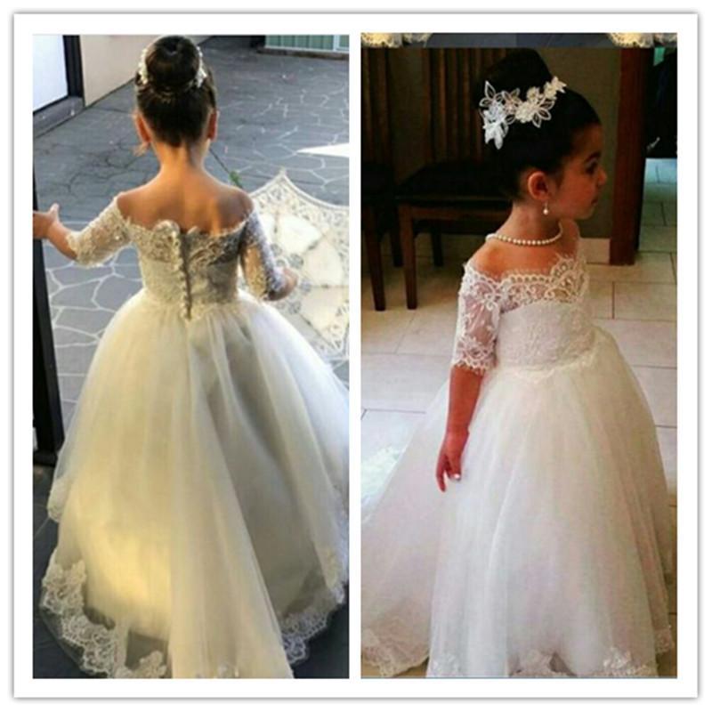 Princesse blanche de l'épaule dentelle fleur Filles Appliques robes pour les mariages demi-manches petits enfants fille Robes