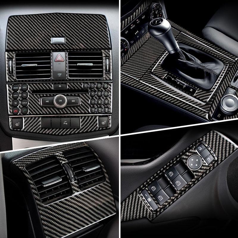 탄소 섬유의 경우 메르세데스 벤츠 C 클래스 W204 자동차 내부 기어 시프트 에어컨 CD 패널 독서 라이트 커버 트림 차 스티커 액세서리
