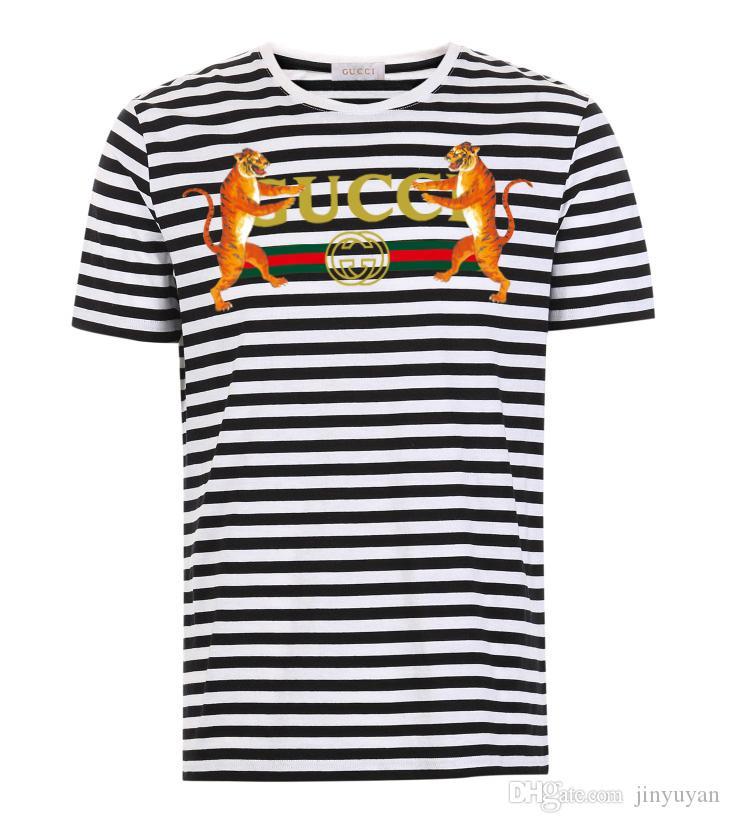 Kurzärmlige T-Shirts der Männer des Sommers 2019 für Männer, Entwurfsvielfalt der Popl-Hemdmänner runder Kragen-Streifen der T-Shirts S-6XL geben Verschiffen frei