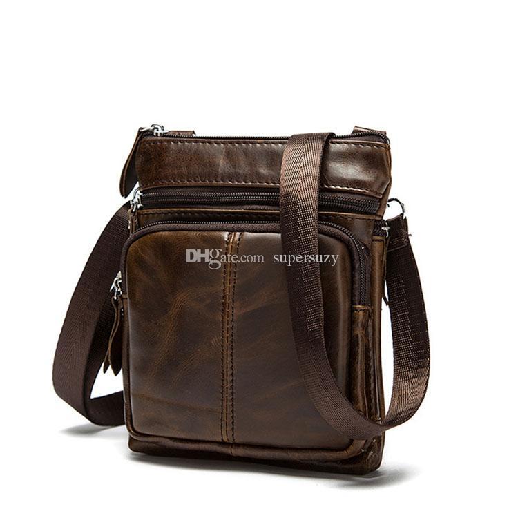 Messenger Verwendung Verkauf Vintage Große Kapazität Männer Farbbeutel Taschen täglich 2021 Echtes Leder Hot Schulter Multi Business für Phtqe