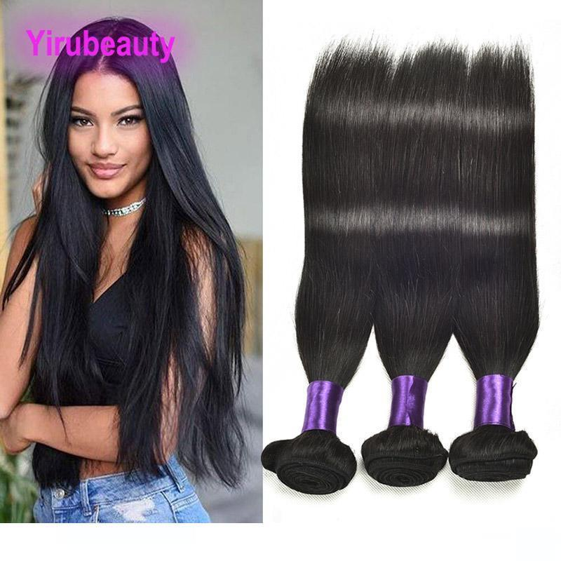 Ein malaysischer 10a Remy Jungfrau-Haar-natürliche Farbe Doppel Tressen Glattes Haar Bundle 3pieces Ein Set Haarverlängerungen 8 -30inch Silky