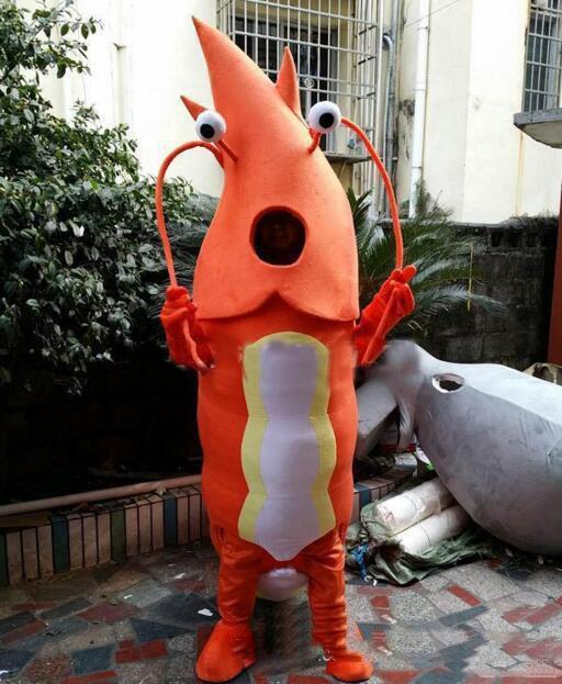 2020 mascotte produit adulte orange Shrimp Costumes Mascotte Costumes Cartoon Publicité Costumes