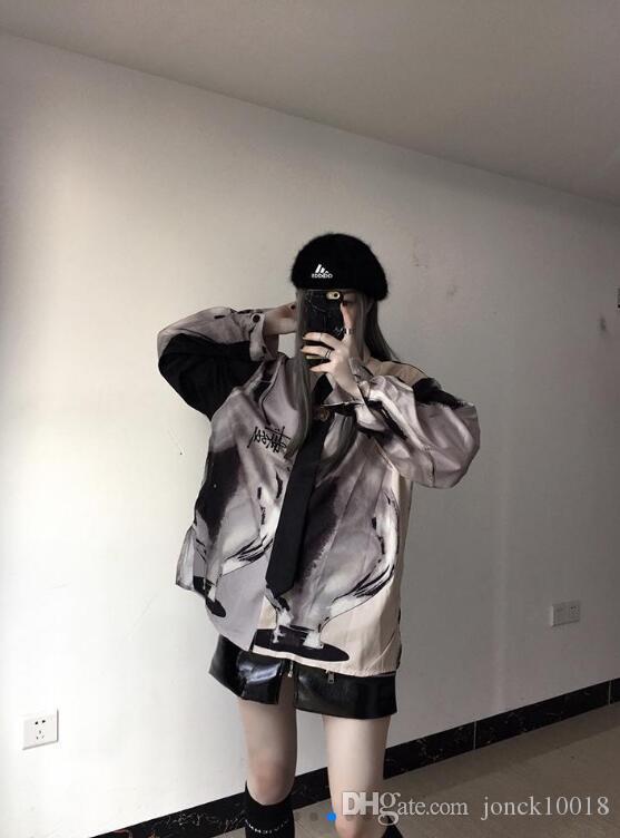 Printemps nouvelle mode Harajuku style lâche graffiti chemise sauvage section longue à manches longues cardigan chemise marée mens designer mens court été