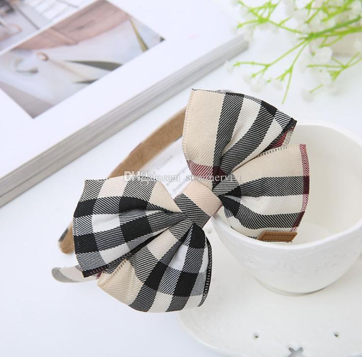 Designer Kids Capelli Sticks Girls Plaid Archi BOws Principessa Copricapo Bambini Lattice Bows BOws Fasce per bambini Party Capelli Accessori per capelli F7453