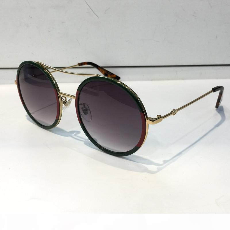 Luxus Frauen Marke designer Sonnenbrille 0061 Stil Mischfarbe Retro Runde Rahmen für Top Qualität Brillen UV Schutz Objektiv