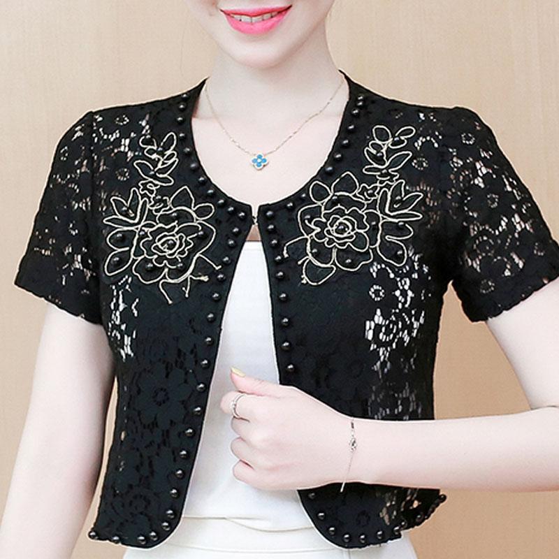 blouse women 2020 short sleeve summer blouse shirt beading hollow lace 3XL 4XL plus size women tops blusas D108