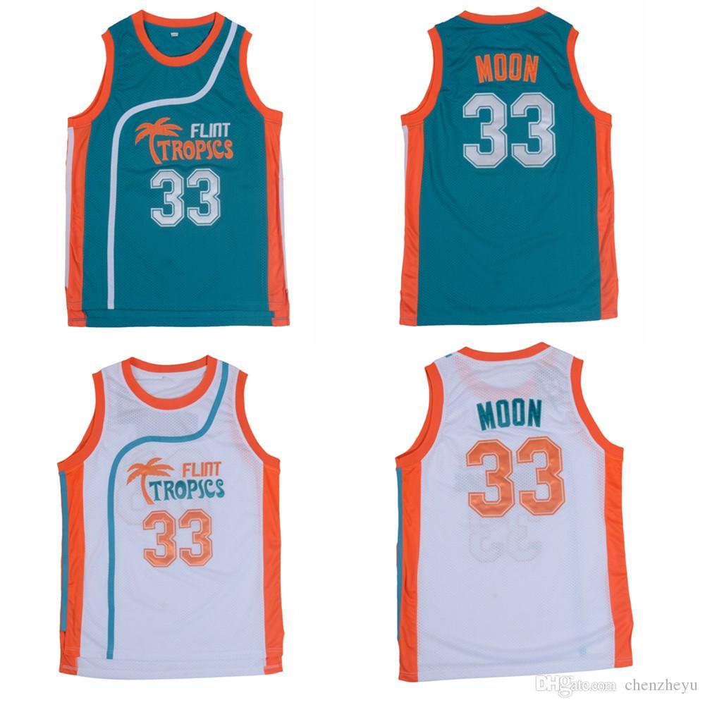 Flint Tropics Movie Edition # 33 Jackie MOON İşlemeli Basketbol Forması