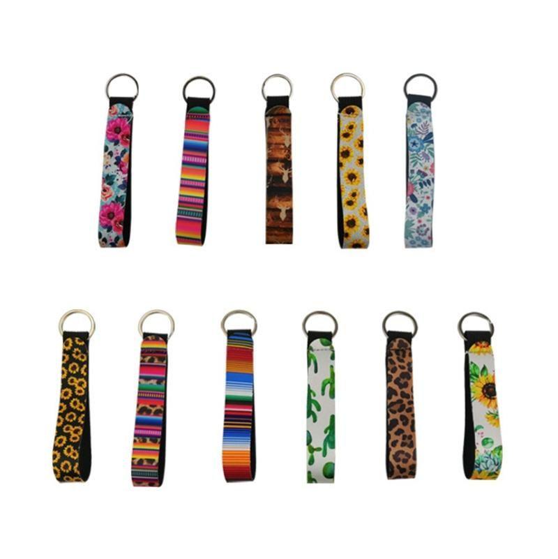 Catena Wristband Portachiavi stampata floreale chiave del neoprene Portachiavi cinturino dell'orologio portachiavi favore di partito 11 progetta all'ingrosso