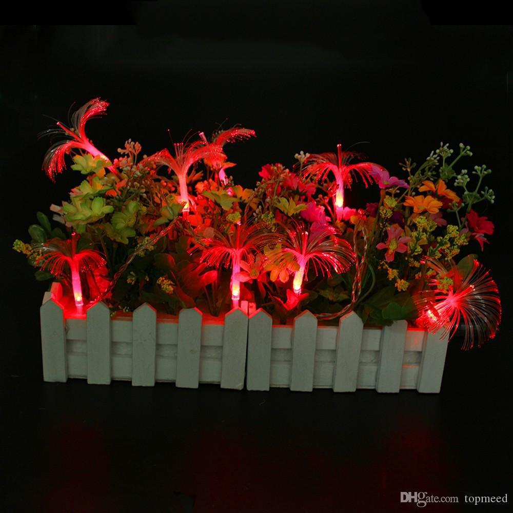 Hot New 10LED Morning Glory Fiber Optic Battery String Night Light Lamp Mni Fairy Lights Christmas Xmas Decor strings