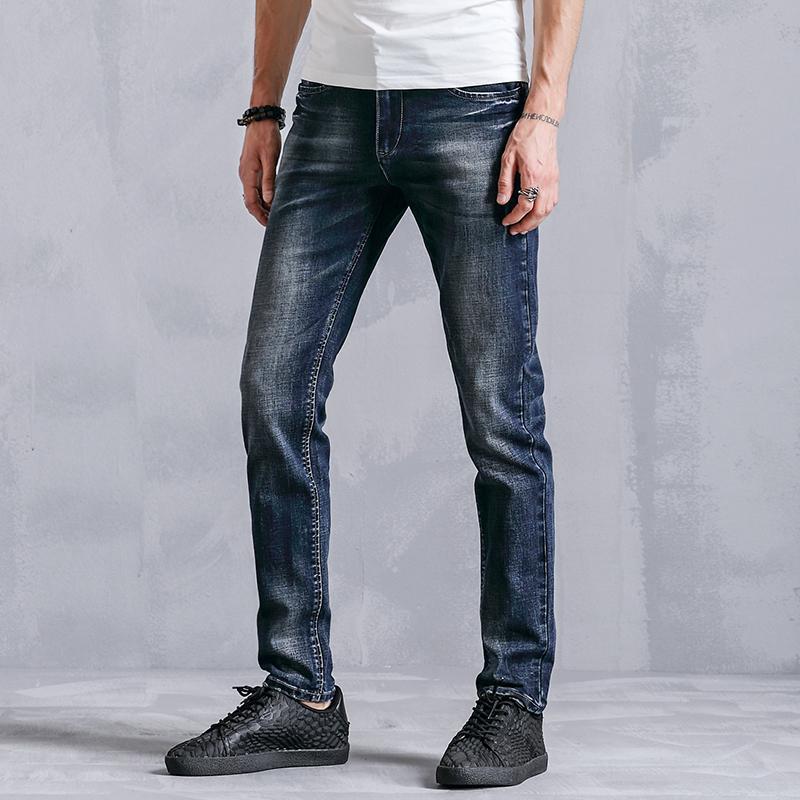 Erkek Giyim K8003 için ENWAYEL Marka 2018 Moda Kalem Skinny Jeans Erkekler Elbise Casual Slim Fit Erkek Elastik Denim Pantolon