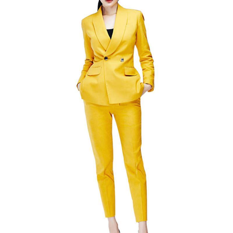 Özelleştirilmiş yeni kadın takım kadın iş ofisi resmi elbise gündelik düz renk iki parçalı (ceket + pantolon)