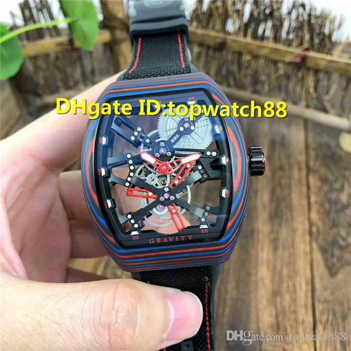 Novo designer relógios esqueleto mostrador luminoso de fibra de carbono Fantasia Caso Tourbillon Automatic 28800 VPH Itália bezerro pulseira Mens Watch