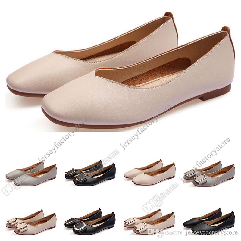 Mesdames Chaussures plates Lager Taille 33-43 Femme Girl Cuir Nu Nu Noir Gris Neuf Arrivel Travaille De Mariage Dress Chaussures Cinquante-neuf
