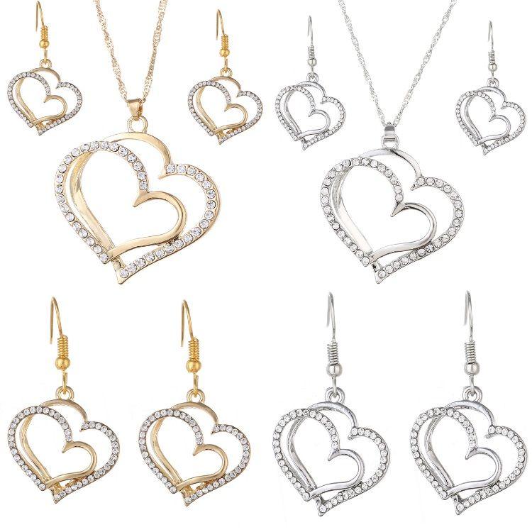 Luxus Hochzeit Halskette und Ohrring Set Fashion Gold Silber Kristall Charm Herz Schmuck Set 2 Farben Mix