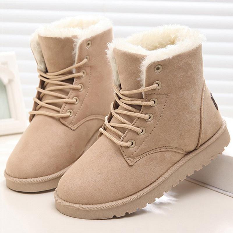 Kadınlar Boots Sıcak Peluş Kar Boots Sahte Süet Kış Ayakkabı Kadın Botines Klasik Kış Boots For Kadın Bilek Botaş Mujer