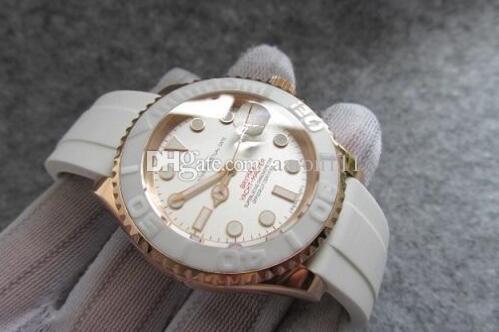 16655 data iate relógio automático relógio de pulso mecânico impermeável cristal de safira pulseira de borracha branca