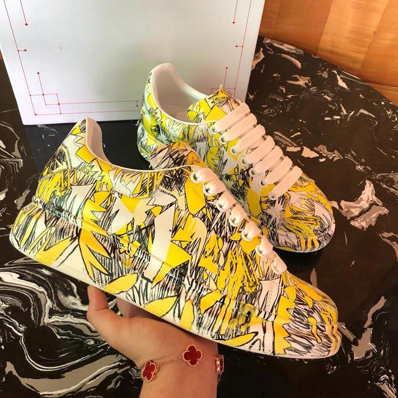 McQueen Melhores Qualidade Graffiti hococal enormes sapatos de designer mulheres de luxo famosos sapatos de festa Paris sapatilhas do desenhista solas ampla pintada