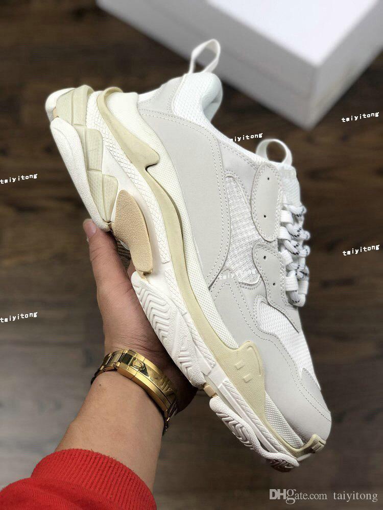 2019 высокое качество модельер тройной s низкий старый папа кроссовки Повседневная обувь для мужчин женщин роскошные увеличивающиеся обувь большой размер белый 35-45