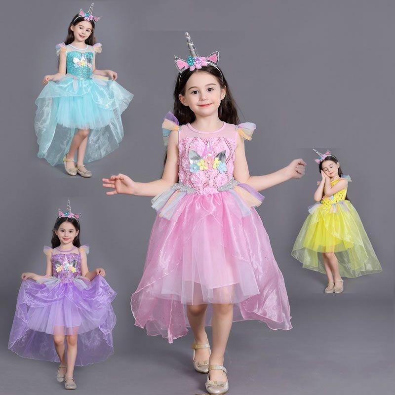 Carnevale Costume di Halloween per la ragazza Unicorno Rainbow Lace Dress Natale Kid Cerimonia Paillettes floreale Abiti per bambini Pageant Abiti da festa