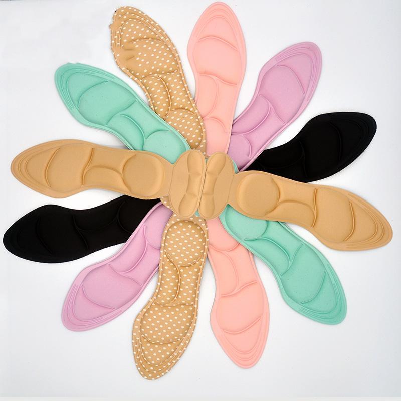 Mulheres 4D Palmilha Pad Arch Massagem Inserções Heel posto de volta respirável Anti-derrapante palmilha Pad para sapata do salto alto novo