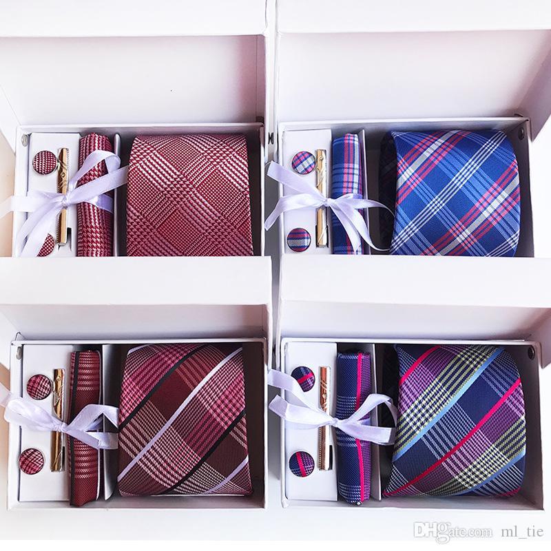 180 Styles Krawatten-Set Paisley 8 cm Herren Krawatte Seidenkrawatte Hochzeitsaccessoires Business Tie Taschentuch-Set (Tie + Tie Clips + Manschettenknöpfe + Taschentuch + Box)