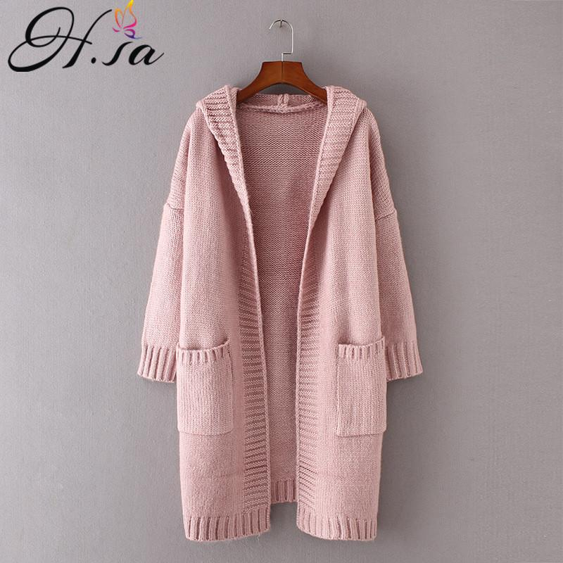 H.SA 2017 Autumn Women Long Knitted Sweater Coat Hooded Sweater Cardigans Poncho Pockets Jumpers Long Casaco Feminino
