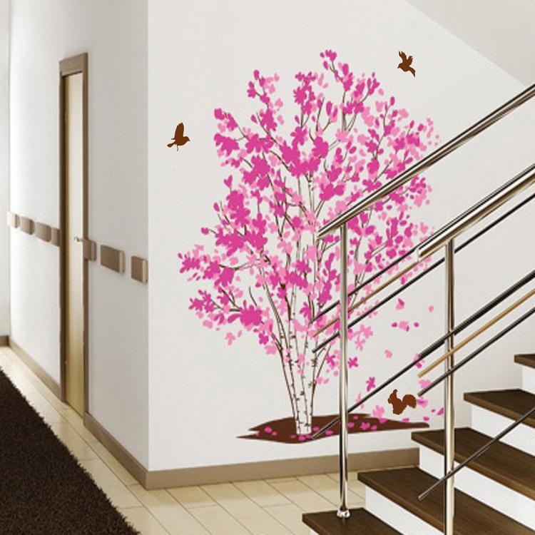 Amovible protection de l'environnement Matériel Fantaisie Fleur Arbre Salon Chambre Arrière-plan sticker mural décoratif Xy1161