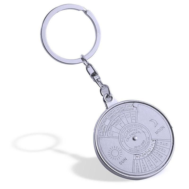 Cadeia de fofocas Disc Pingente Car Key Sun Moon Stainless Steel Compass Calendário Perpétuo abridor de garrafas Chaveiro Amigos presente KCN522