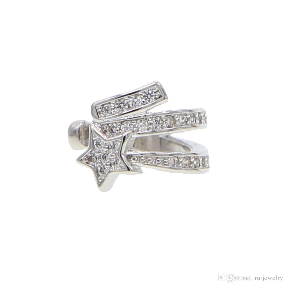 Vintage 1 Unids ESTRELLA Clip en Pendientes de Cristal Ear Ear Cuff No Pendientes Pendientes 3 Filas Rhinestone Moda Punk Rock mujeres joyas regalos