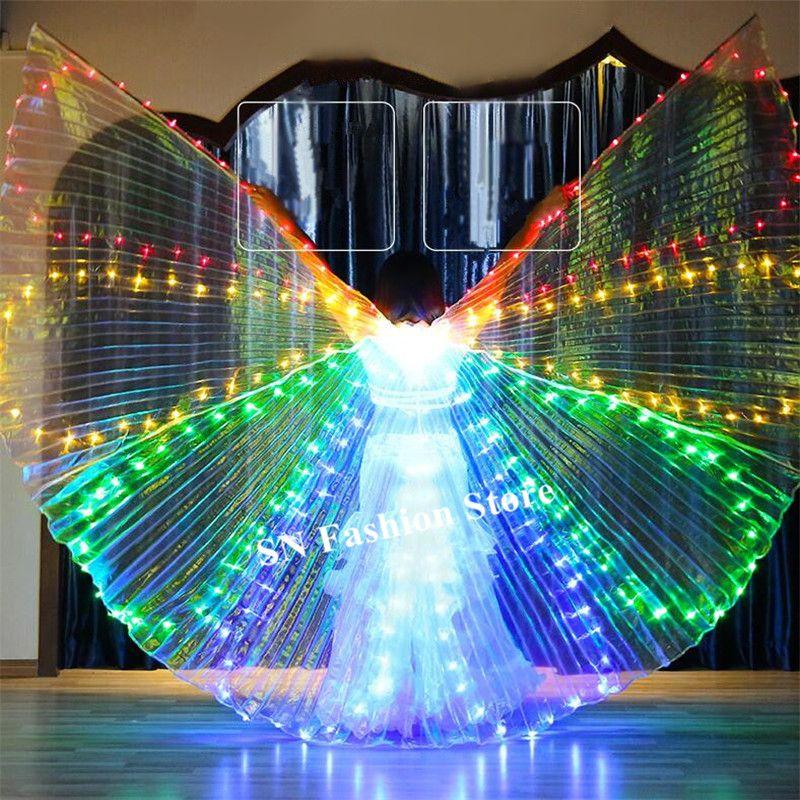 M98 Ballroom dance led costumes colorful light led cloak bellydance luminous wings rave wears perform dress singer clothes bar catwalk show