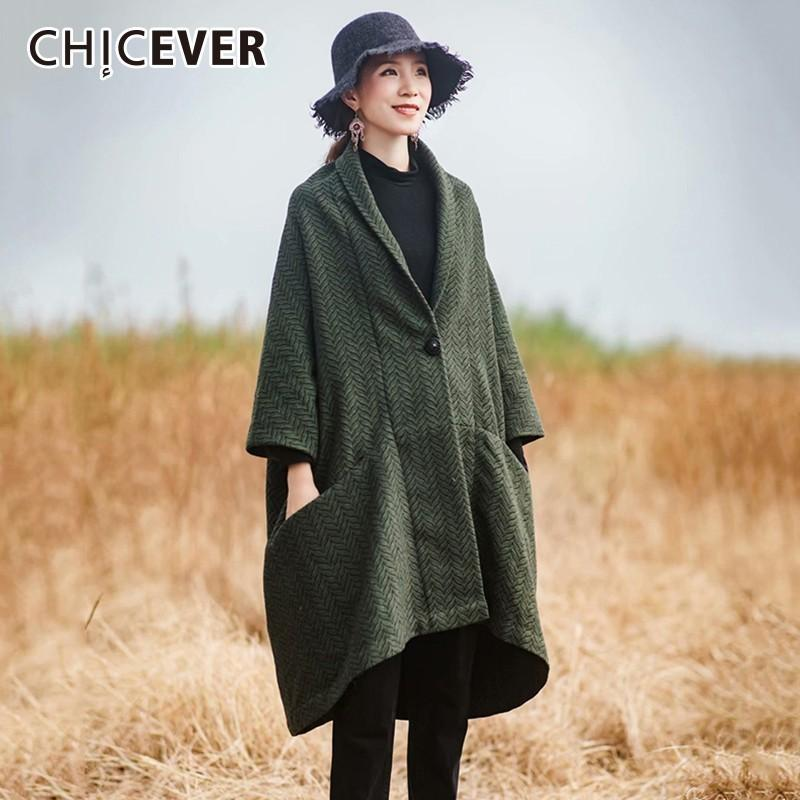 CHICEVER Trench-Coat Pour Femmes Coupe-Vent À Col V Manches Chauve-Souris Lâche Surdimensionné Simple Bouton Vintage Manteaux Femme De Mode Nouveau