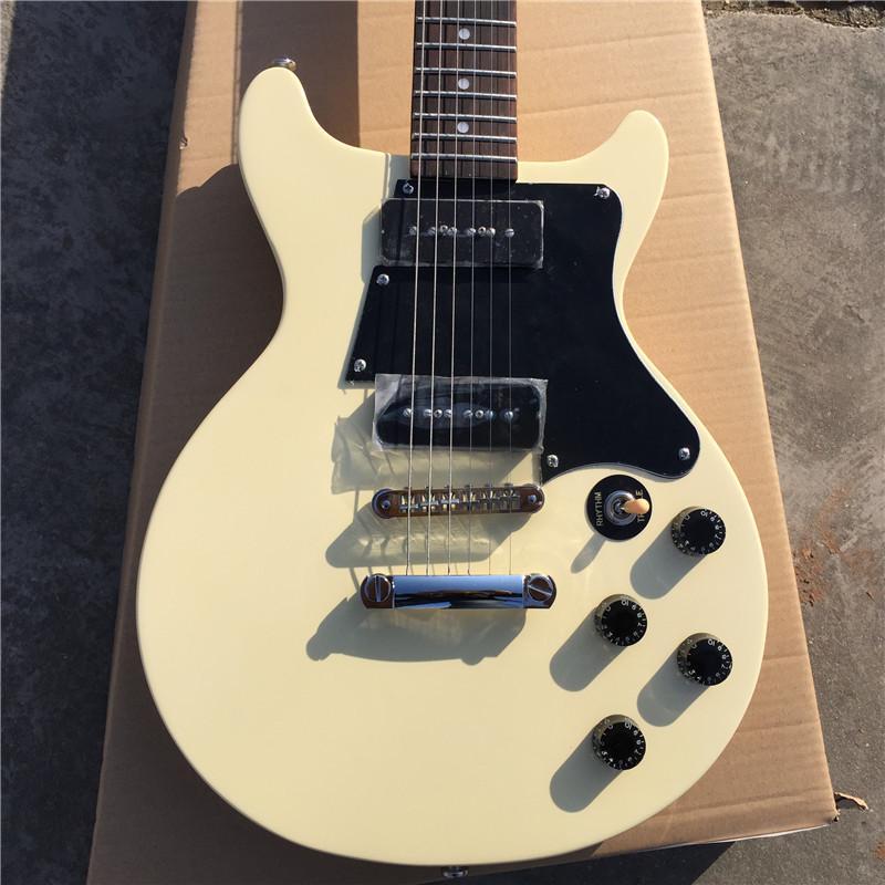 مصنع جديد مخصص الجبن لون الجسم الغيتار الكهربائي مع أجهزة الكروم، P90 بيك آب، أسود pickguard، يمكن تخصيصها