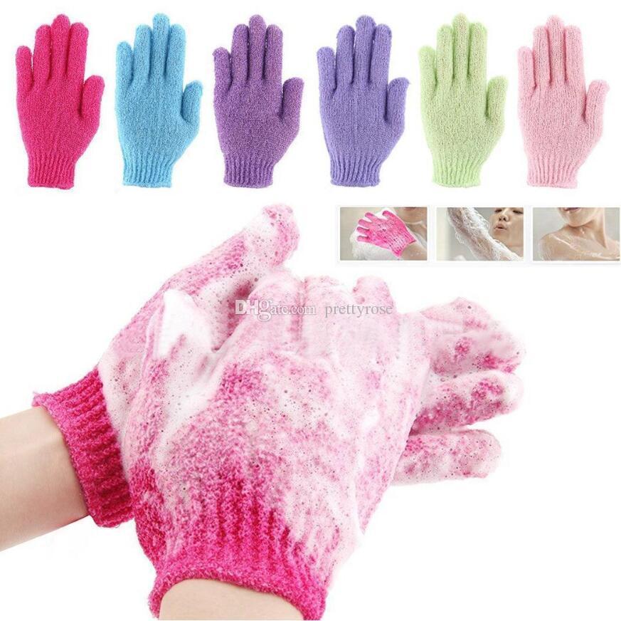 Baño de ducha Guantes Exfoliante Lavado Piel Spa Masaje Scrub Body Scrubber Glove 7 colores Suave guantes de baño Regalo Envío gratis